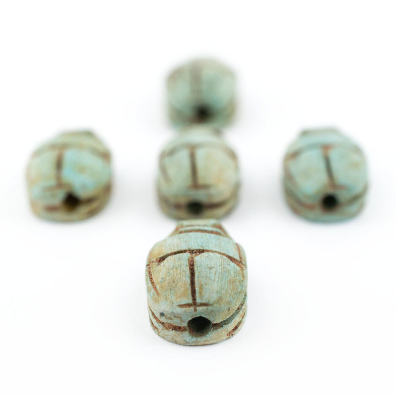 Light Green Egyptian Scarab Beads (Set of 5) - The Bead Chest