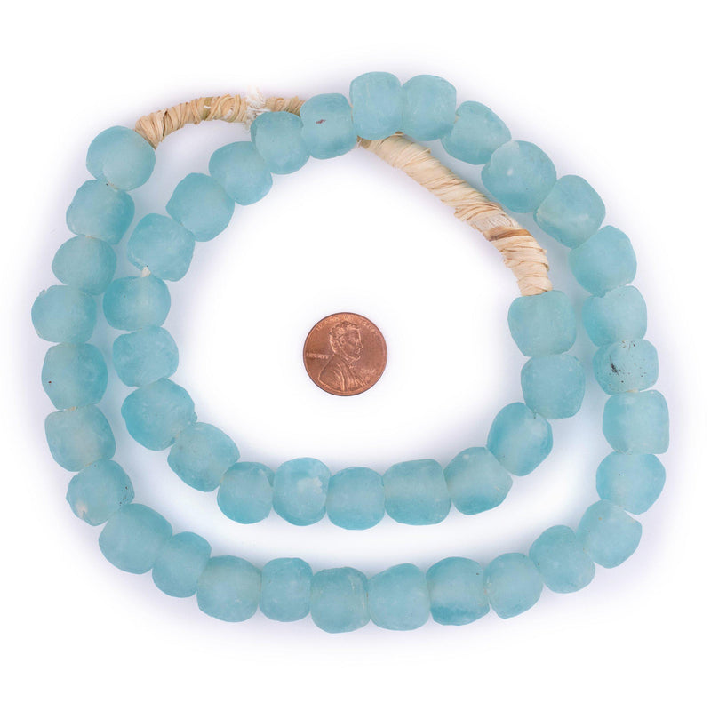 Blue Aqua Recycled Glass Beads (14mm) - The Bead Chest