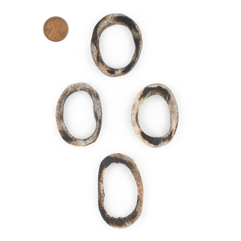 Grey Camel Bone Ring Beads (Set of 4) - The Bead Chest