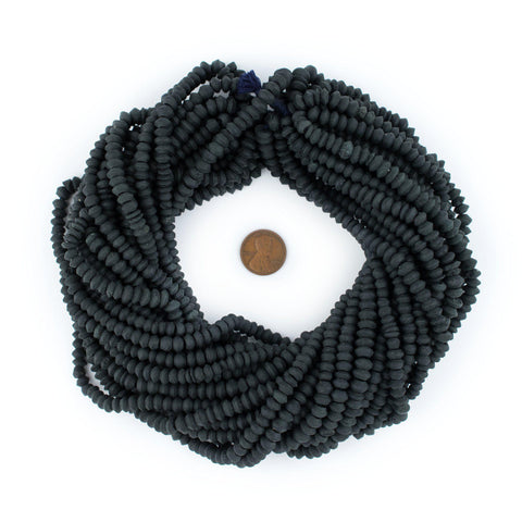 Image of Black Jade Saucer Beads (7mm) - The Bead Chest