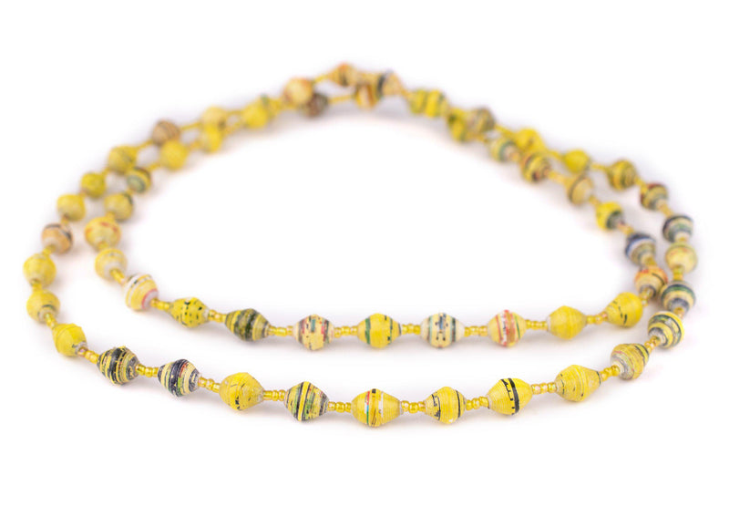 Yellow Speckle Recycled Paper Beads from Uganda