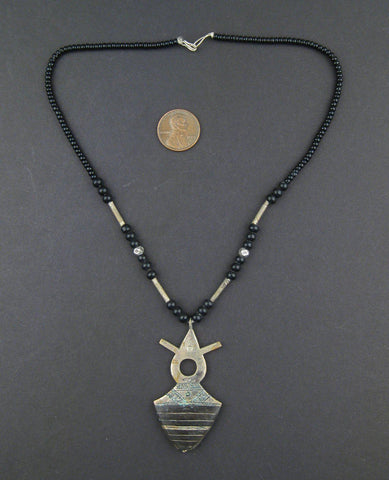 Vintage-Style Ebony Tuareg Pendant (52x29mm) - The Bead Chest