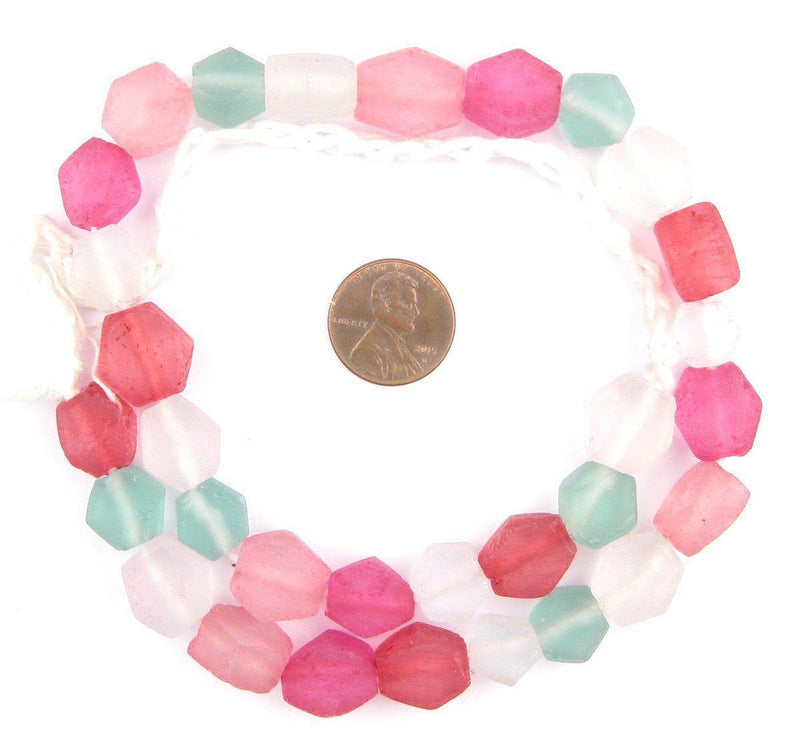 Pink Pizzazz Medley Hexagon Java Recycled Glass Beads - The Bead Chest