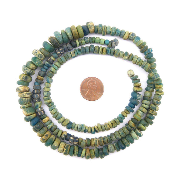 Ancient Djenne Green Glass Beads (Long Strand)