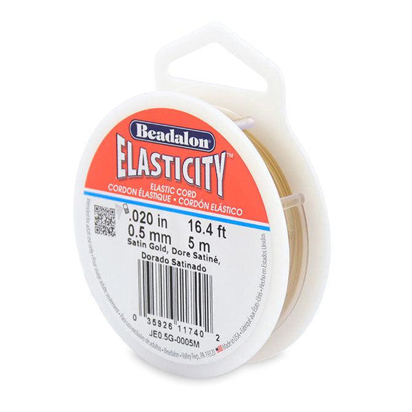 Elasticity 0.5mm Satin Gold Elastic Cord (5 meters) - The Bead Chest