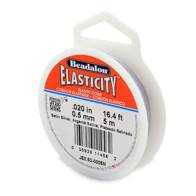 Elasticity 0.5mm Satin Silver Elastic Cord (5 meters) - The Bead Chest