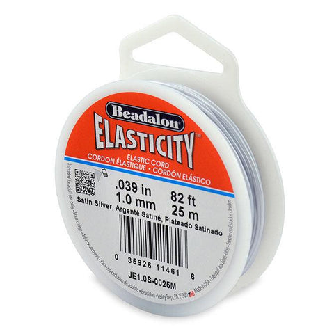 Elasticity 1.0mm Satin Silver Elastic Cord (25 meters) - The Bead Chest