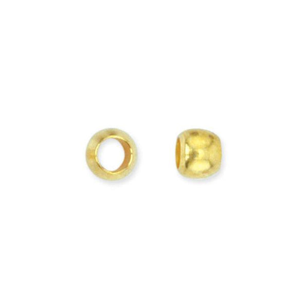 Size #1 Gold Color Crimp Beads (2mm, Set of 100)