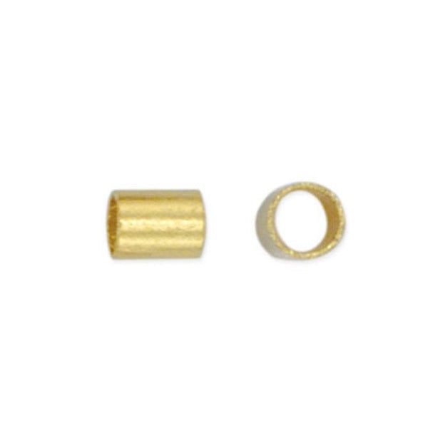 Size #2 Gold Color Crimp Tube Beads (1.8mm, Set of 45) - The Bead Chest