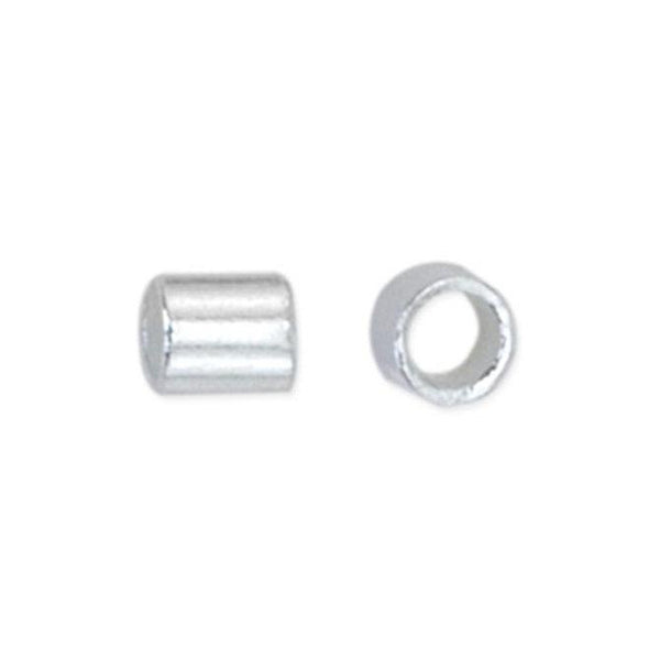 Size #3 Silver Plated Crimp Tube Beads (2mm, Set of 50) - The Bead Chest