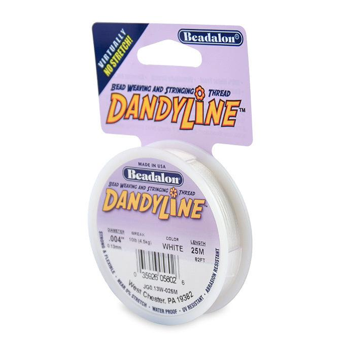 Dandyline Thread 0.13mm White 25m Spool - The Bead Chest
