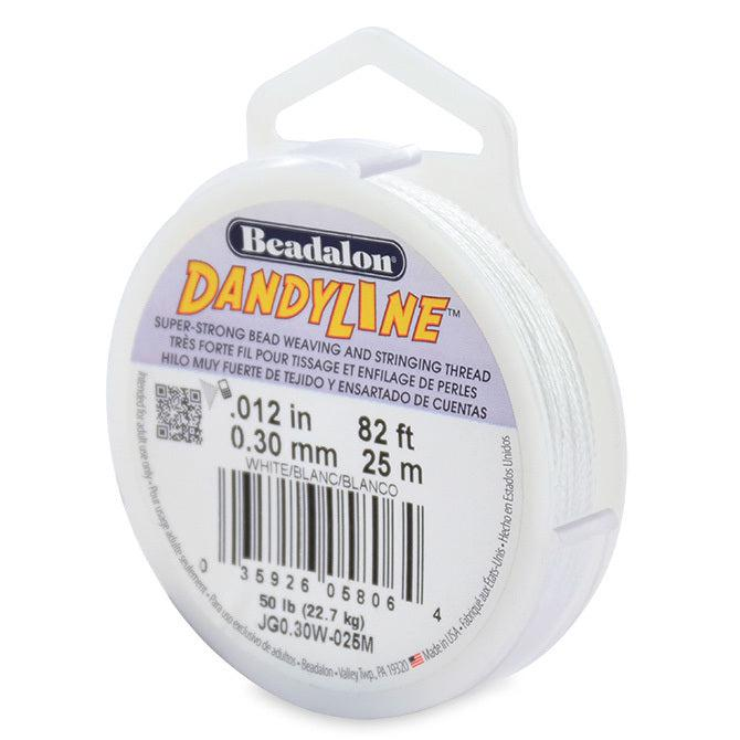 Dandyline Thread 0.30mm White 25m Spool - The Bead Chest