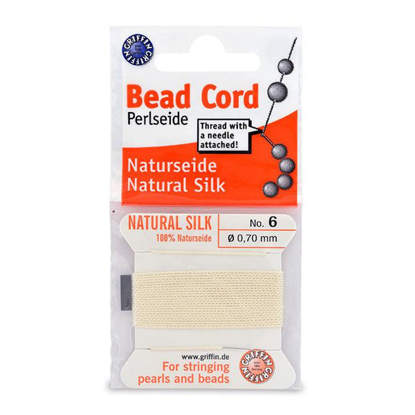 White Silk Thread (Size 6, 0.70mm) - The Bead Chest