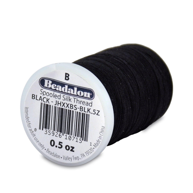 Beadalon 0.20mm Black Silk Thread Size B (1170ft)