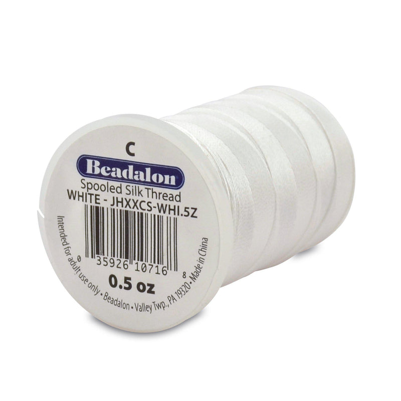 Beadalon 0.27mm White Silk Thread Size C (920ft)