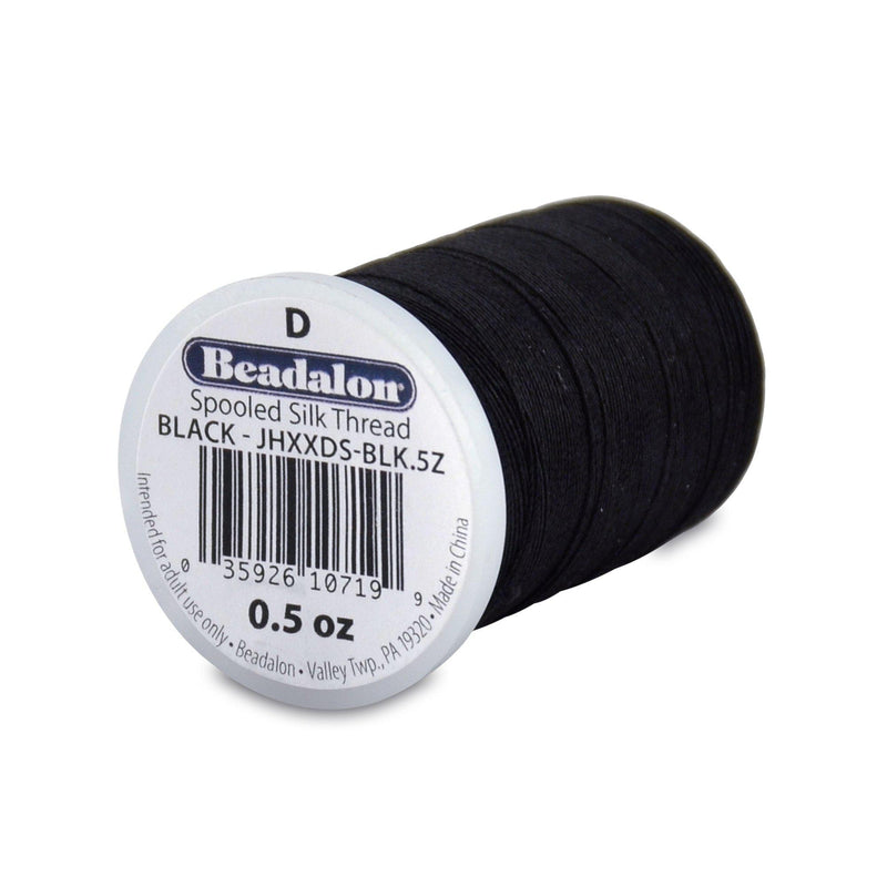Beadalon 0.30mm Black Silk Thread Size D (780ft)