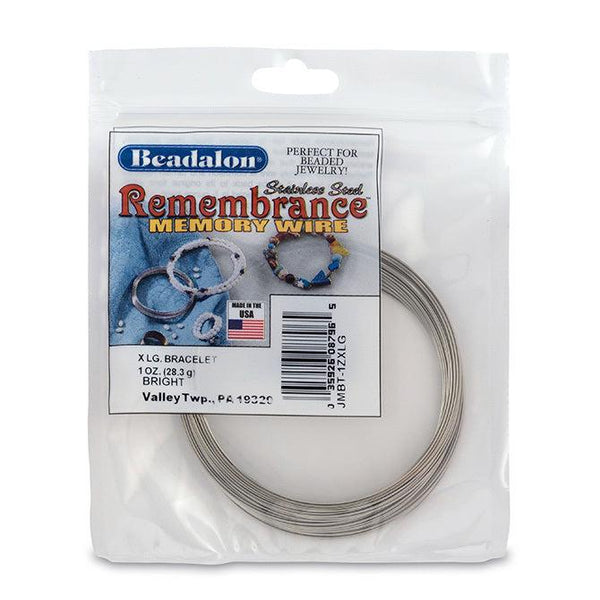 Remembrance Memory Wire, Round, Bracelet, XLarge - The Bead Chest