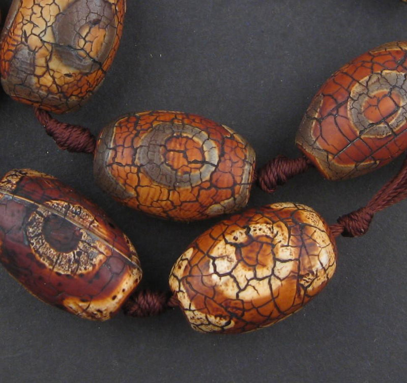 Antiqued Tibetan Agate Oval Beads (27x18mm)