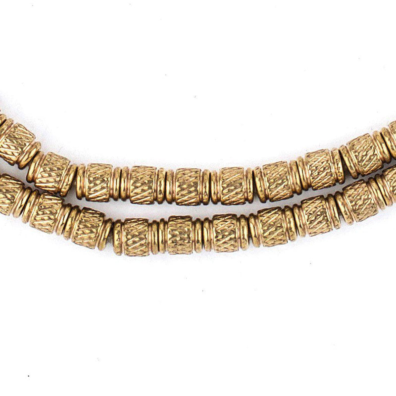 Antiqued Brass Engraved Cylinder Beads (5x4mm) - The Bead Chest