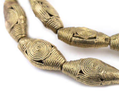 Image of Cameroon Style Flat Bicone Brass Filigree Beads (31x16mm) - The Bead Chest