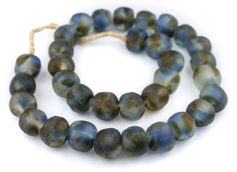 Jumbo Blue Brown Swirl Recycled Glass Beads (23mm) - The Bead Chest