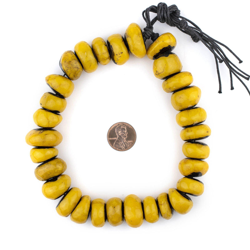 Vibrant Yellow Berber Resin Beads (12x18mm) - The Bead Chest