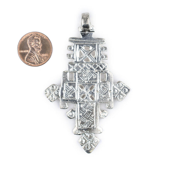 Bright Silver Coptic Cross Pendant (76x47mm)