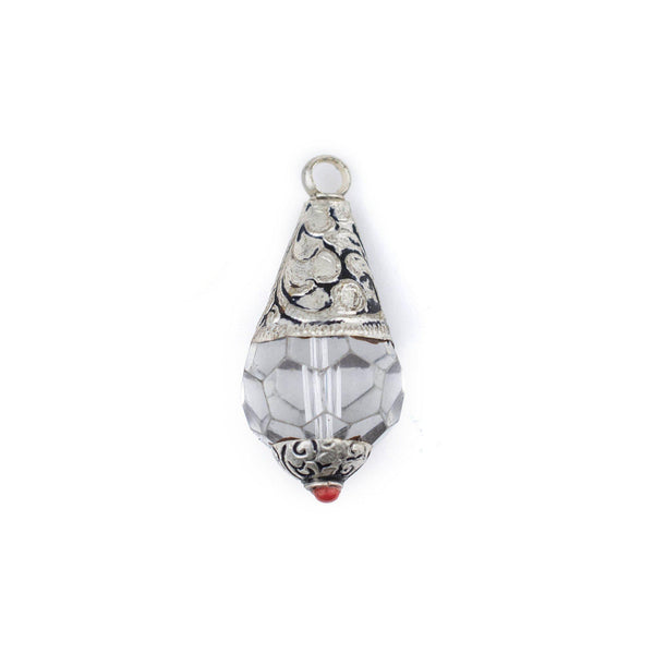 Nepali Silver Capped Pendant w/ Plastic Crystal (42x19mm) - The Bead Chest