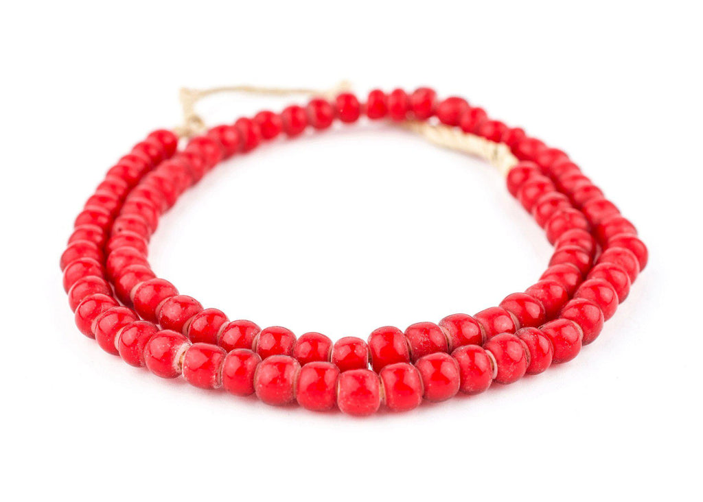 Super Jumbo Padre-Sized Red White Heart Beads (9mm) - The Bead Chest