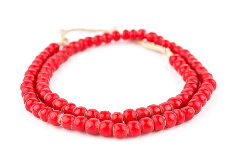 Image of Super Jumbo Padre-Sized Red White Heart Beads (9mm) - The Bead Chest