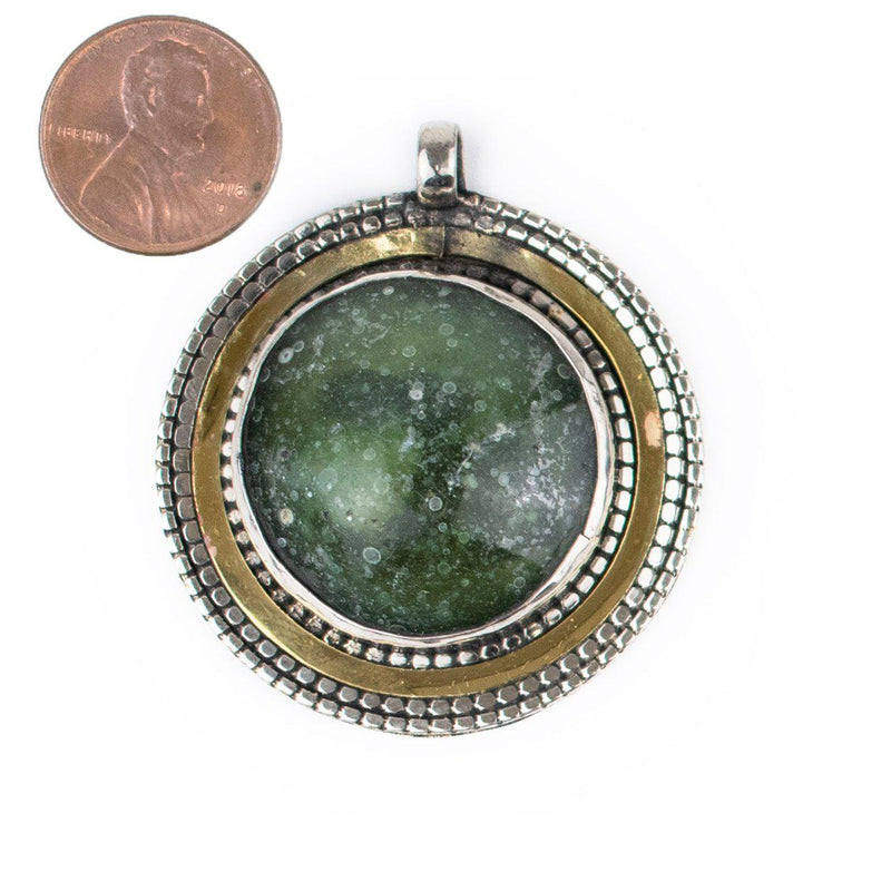 Bezeled Roman Glass Pendant (40-50mm) - The Bead Chest