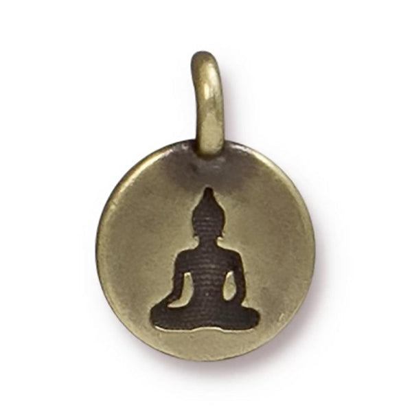 Antiqued Brass Buddha Charm (16x12mm)