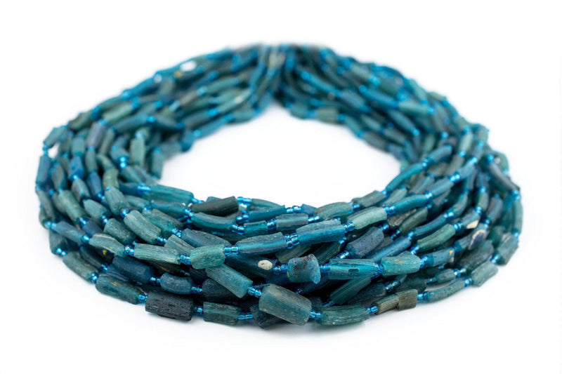 Aqua Roman Glass Bangle Beads - The Bead Chest