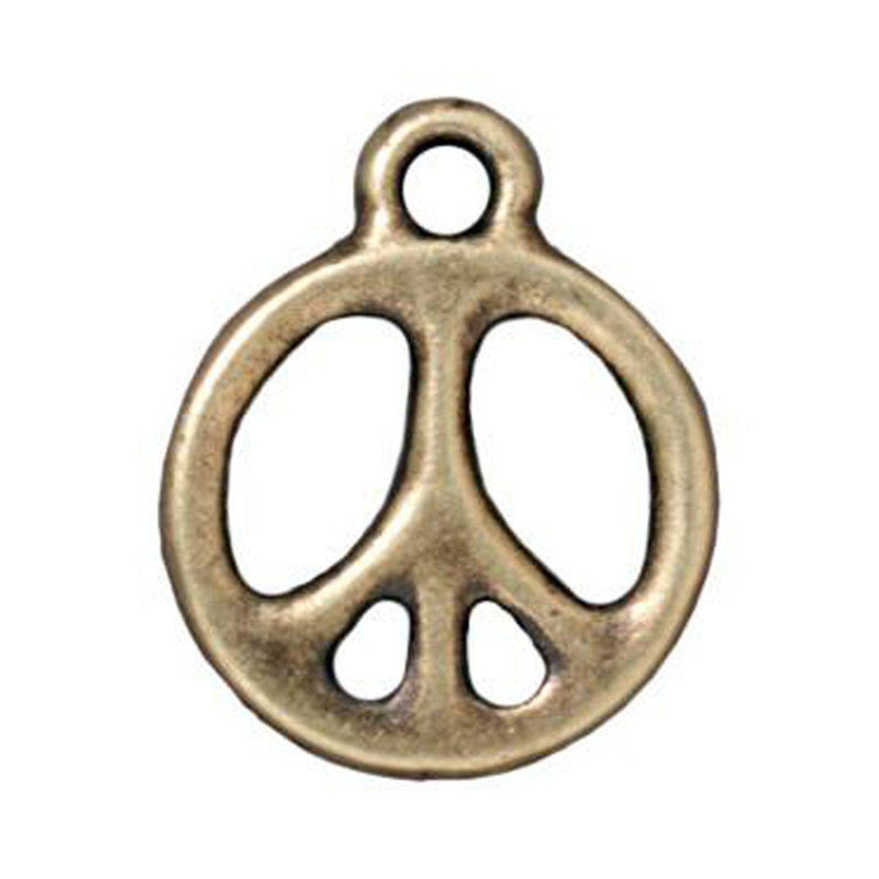 Antiqued Brass Peace Charm (19x16mm)