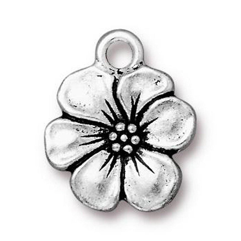 Antiqued Silver Apple Blossom Charm (17x14mm)