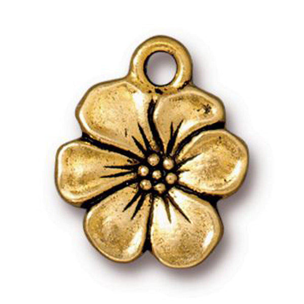 Antiqued Gold Apple Blossom Charm (17x14mm)