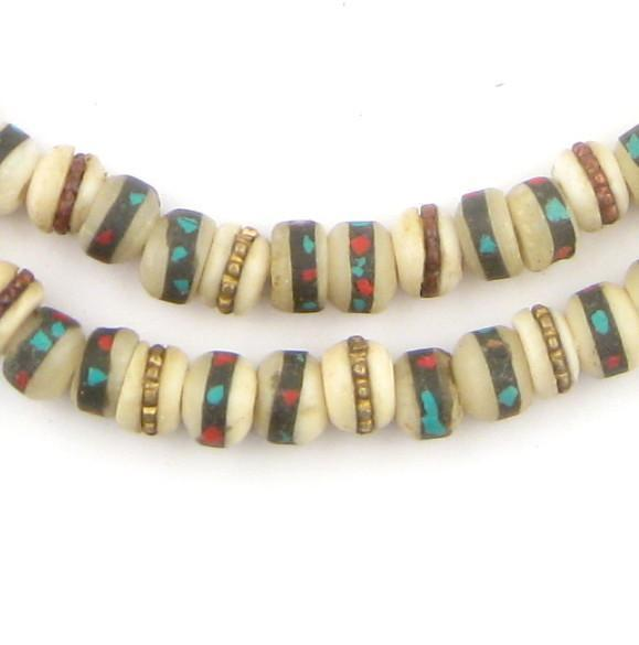 Vintage Inlaid Bone Mala Beads (6mm)