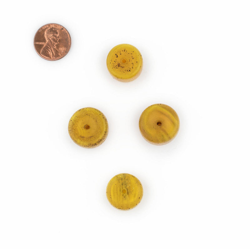 Yellow Cylindrical Tomato Glass Trade Beads (Set of 4) - The Bead Chest