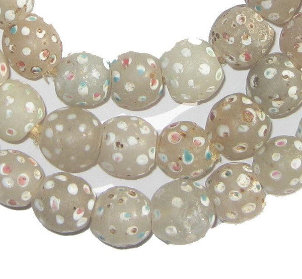 White Antique Venetian Skunk Eye Trade Beads - The Bead Chest