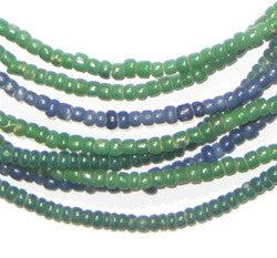 Wholesale Lot of Blue and Green Ghana Small Beads (4 strands) - The Bead Chest
