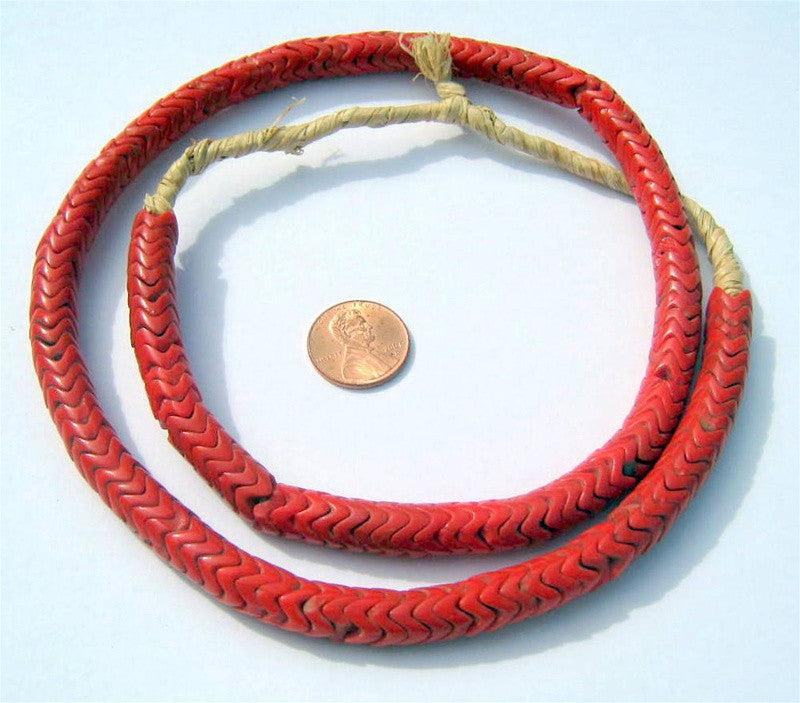 Glass Snake Beads, Coral Color (Large) - The Bead Chest