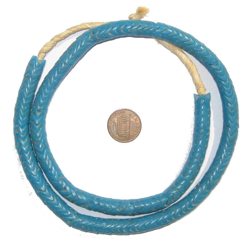 Turquoise Glass Snake Beads (9mm) - The Bead Chest