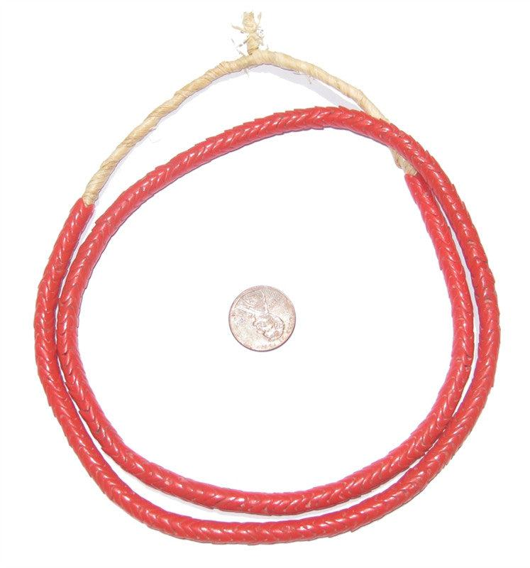 Glass Snake Beads, Coral Color (6mm) - The Bead Chest