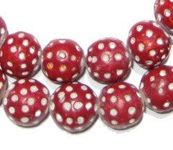 Red Terracotta Polka Dot Beads (Red) - The Bead Chest