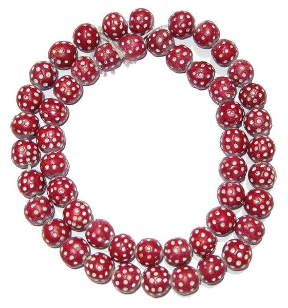 Red Terracotta Polka Dot Beads (Red)