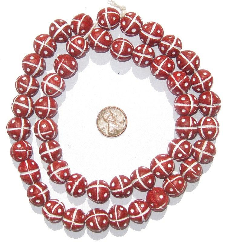 Red Kenya Terracotta French Cross Beads - The Bead Chest