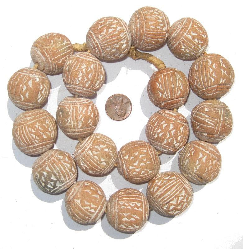 Natural Terracotta Beads (Large) - The Bead Chest