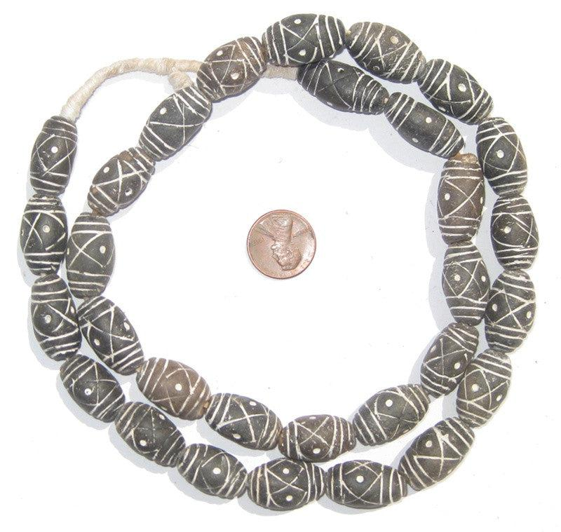 Black & White Oblong Terracotta Beads - The Bead Chest