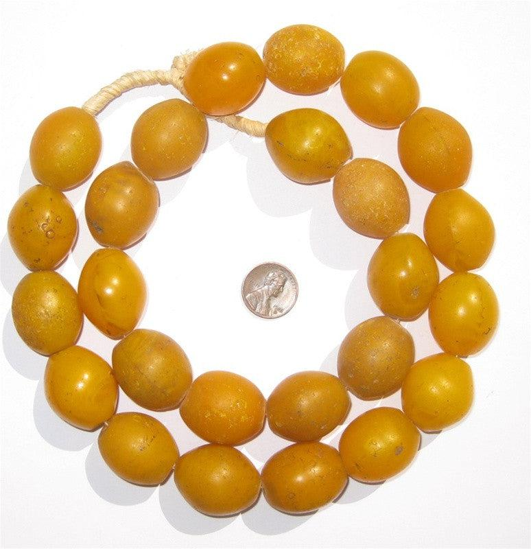 Ethiopian Orange Tomato Beads (29x24mm) - The Bead Chest