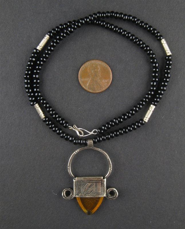 Tuareg Pendant w/ Stone (Small) - The Bead Chest
